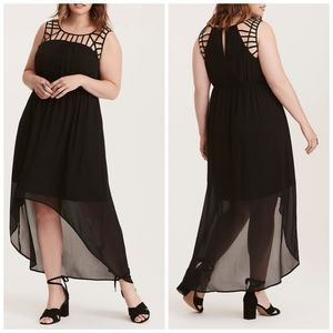 Torrid Lattice Inset Hi-Lo Maxi dress, size 2X